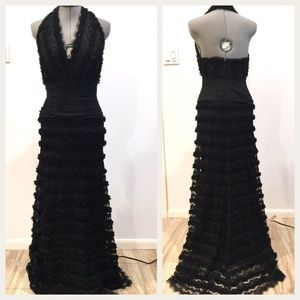 Tadashi Black Beaded Halter Evening Gown Size 12
